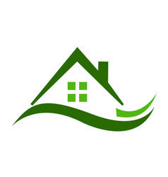 Green house real estate icon vector