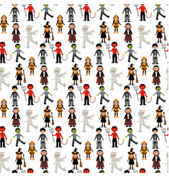 Halloween costumes pattern vector