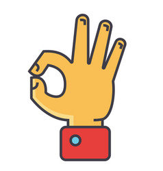 Hand gesture symbolizing ok agreement concept vector