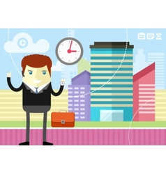 Happy businessman showing clock vector