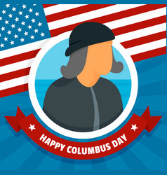 happy columbus day concept background flat style vector image