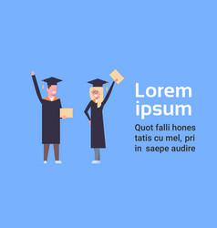 happy girl and boy students in graduation cap vector image