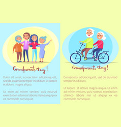 happy grandparents day senior couples and bike vector image