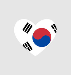 Heart of the colors of the flag of south korea vector