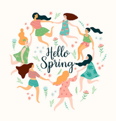 hello spring cute with women vector image