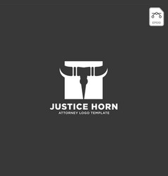 Horn bull attorney logo line design template vector