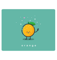 Icon of orange fruit funny cartoon character vector