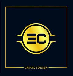 Initial ec letter logo template design vector