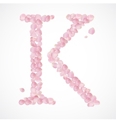 K letter Alphabet from pink petals of rose vector image vector image