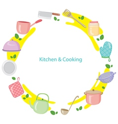 Kitchen Equipment On Circle Frame vector image