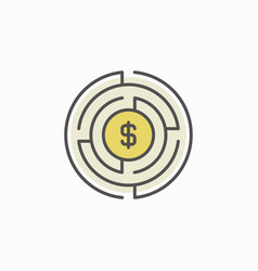 labyrinth with money icon vector image
