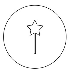 Magic wand black icon outline in circle image vector