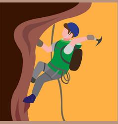 Man climbing mountain outdoor activity extreme sp vector