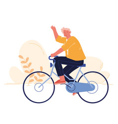Man cyclist riding bike outdoors in summer day on vector