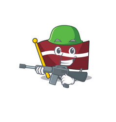 Mascot flag latvia with in army character vector