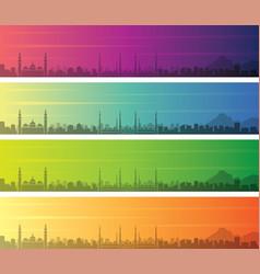 Medina multiple color gradient skyline banner vector