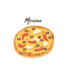 mexican pizza with jalapeno red hot chili peppers vector image