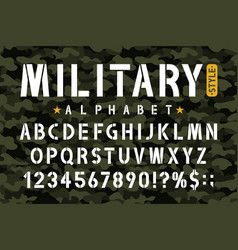 Military stencil font on camouflage background vector