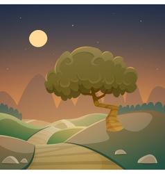 Night cartoon landscape vector