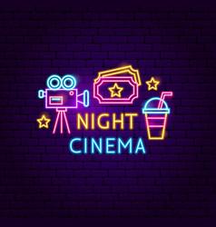 night cinema neon sign vector image
