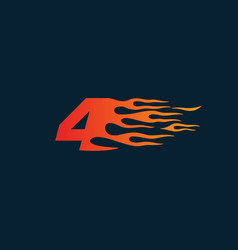 Number 4 fire flame logo speed race design vector