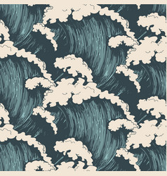 Ocean waves seamless pattern vector
