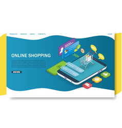 online shopping landing page website vector image