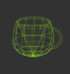 Outline tea cup on the black background vector