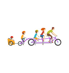 Parents riding on tandem bicycle with their three vector