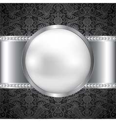 pearl and silver frame vector image vector image