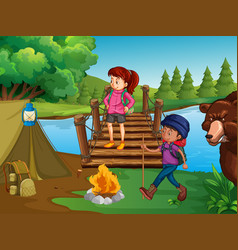 People hiking and camping in wilderness vector