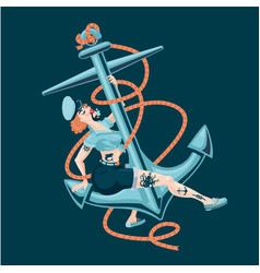 Pin-up sailor girl with boat anchor sexy woman vector