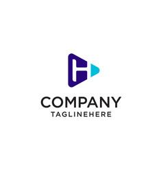 Play media letter h logo design concept template vector