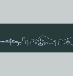 Portland single line skyline vector