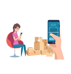 qr code girl finding information about parcels vector image