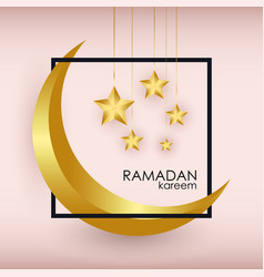 ramadan kareem greeting slogan with gold crescent vector image