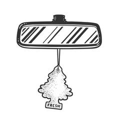 Rear view mirror tree air freshener sketch vector