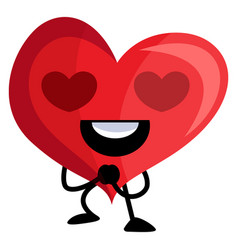 red heart with heart shaped eyes on white vector image