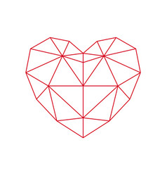 Red polygon heart - icon vector