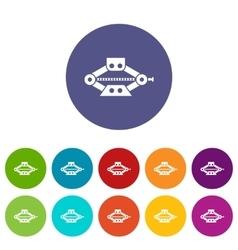 Red scissor car jack set icons vector