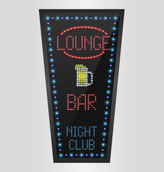 Retro sign with blue lights and word lounge vector