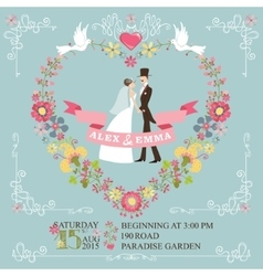 Retro wedding invitationBride groomfloral vector
