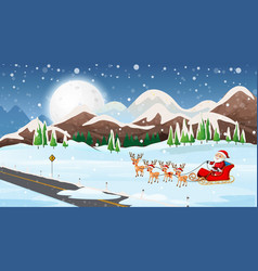 scene with santa on sleigh vector image
