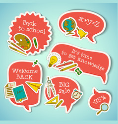 school education stickers collection vector image