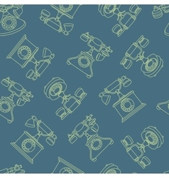 Seamless pattern with vintage phone in line vector