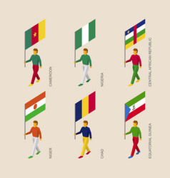 Set of 3d isometric people with flags of africa vector