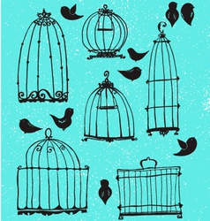 Set of doodle cages and little birds vector image