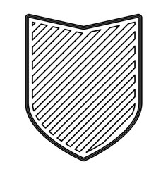 shield in monochrome contour and striped vector image