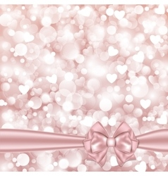 Shiny pink background with bow vector