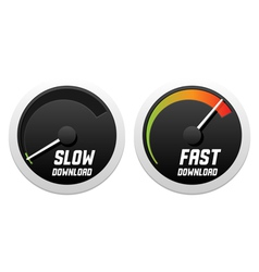 Speedometers with slow and fast download vector